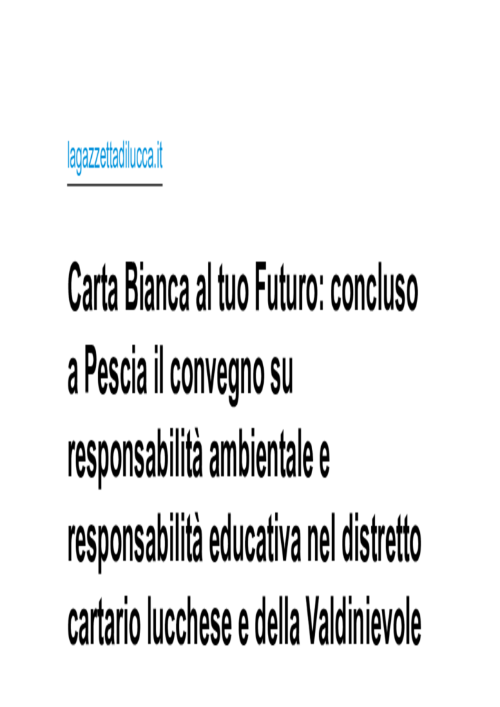 Carta Bisnca al tuo Futuro : Concluso a Pescia il Convegno