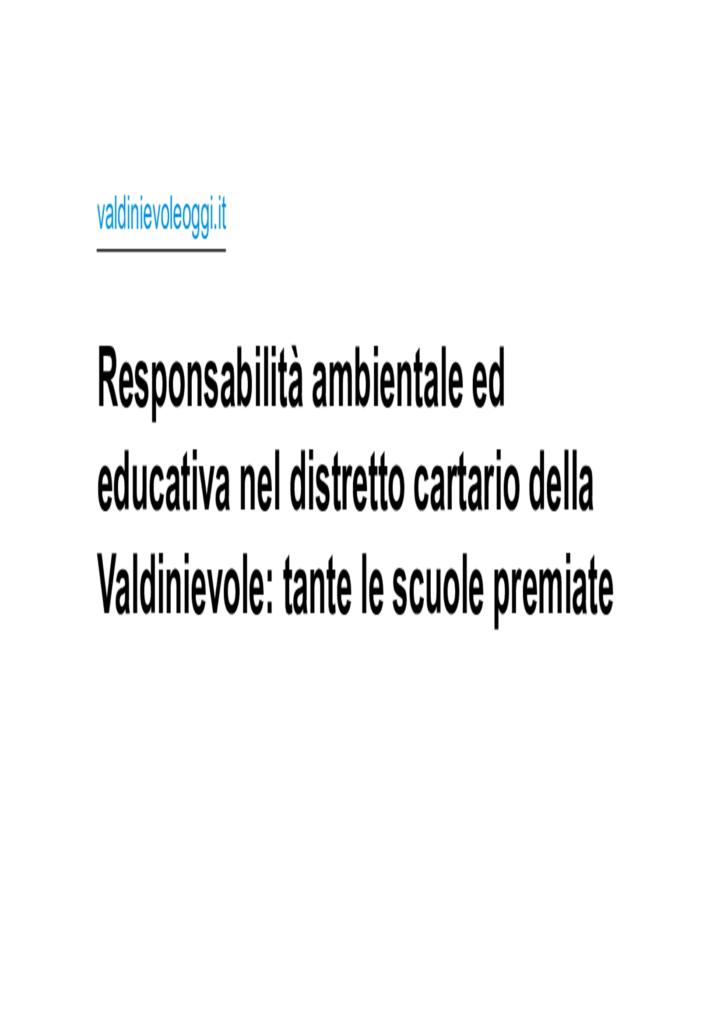 Responsabilità ambientale ed educativa nel distretto cartario della Valdinievole- tante le scuole pr