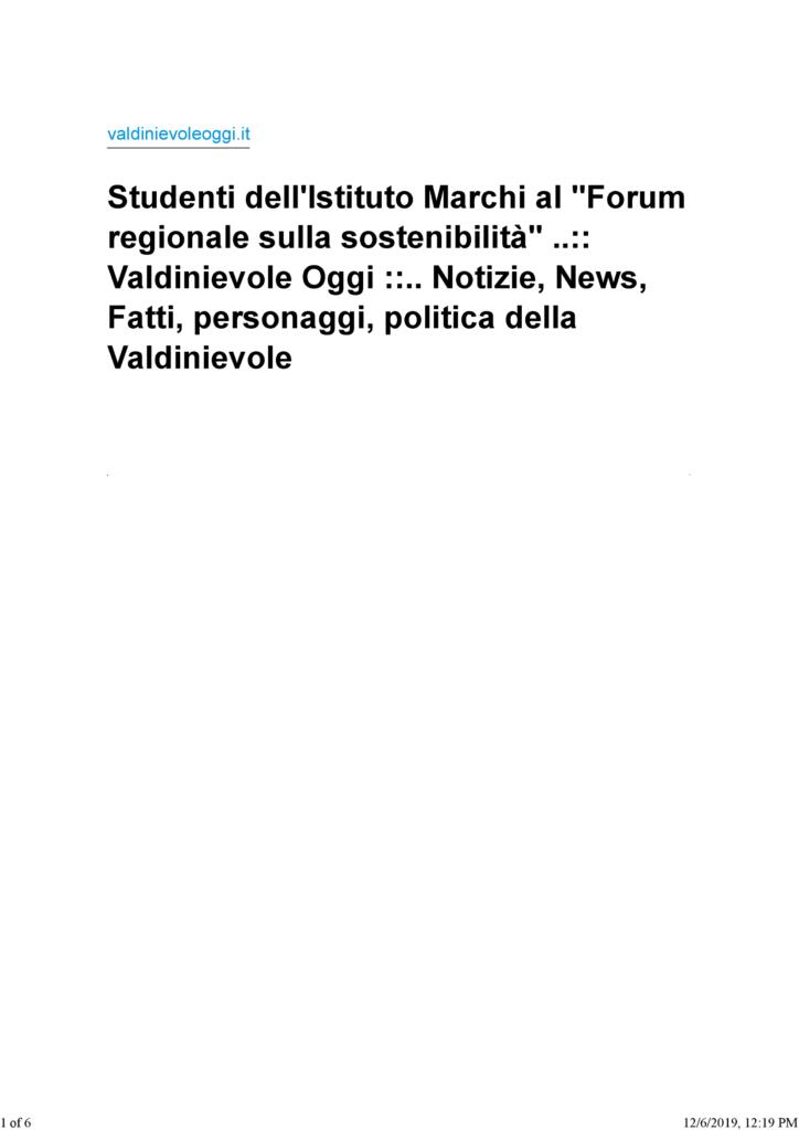Studenti dell'Istituto Marchi al -Forum regionale sulla sostenibilita